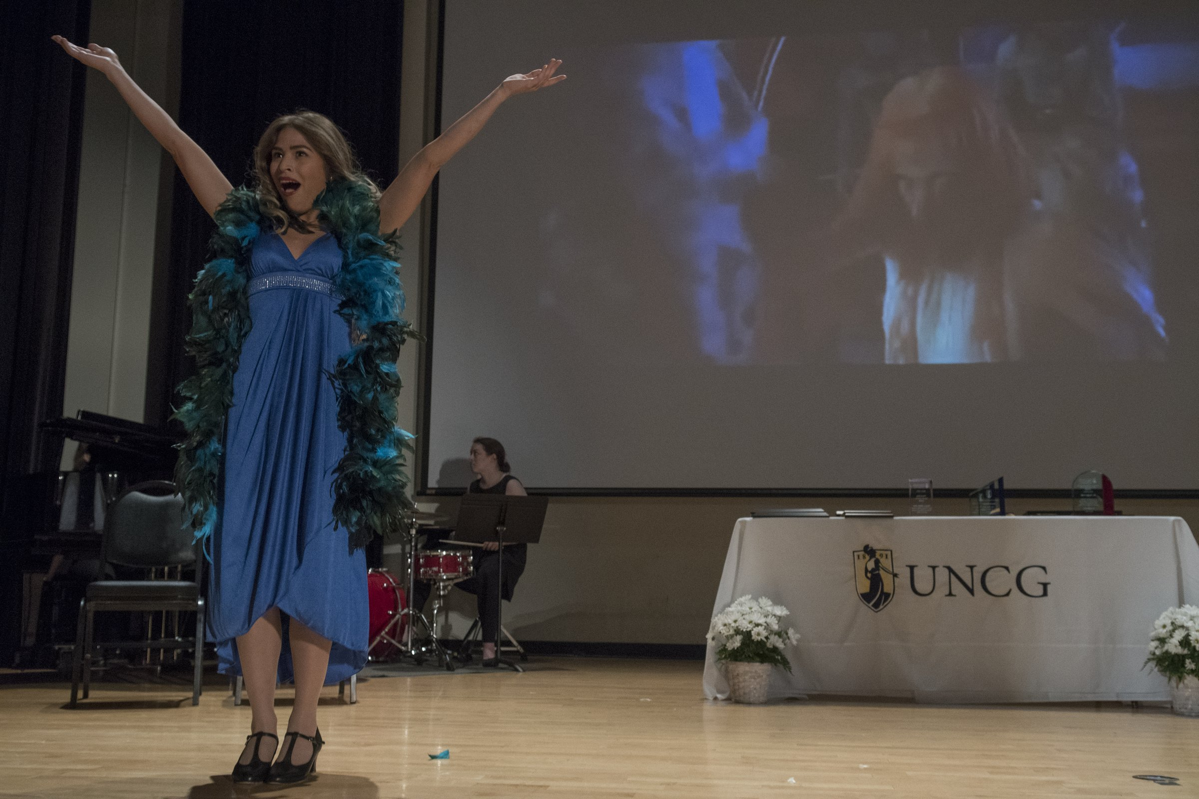 Photo of female performer at Faculty Staff Excellence Awards