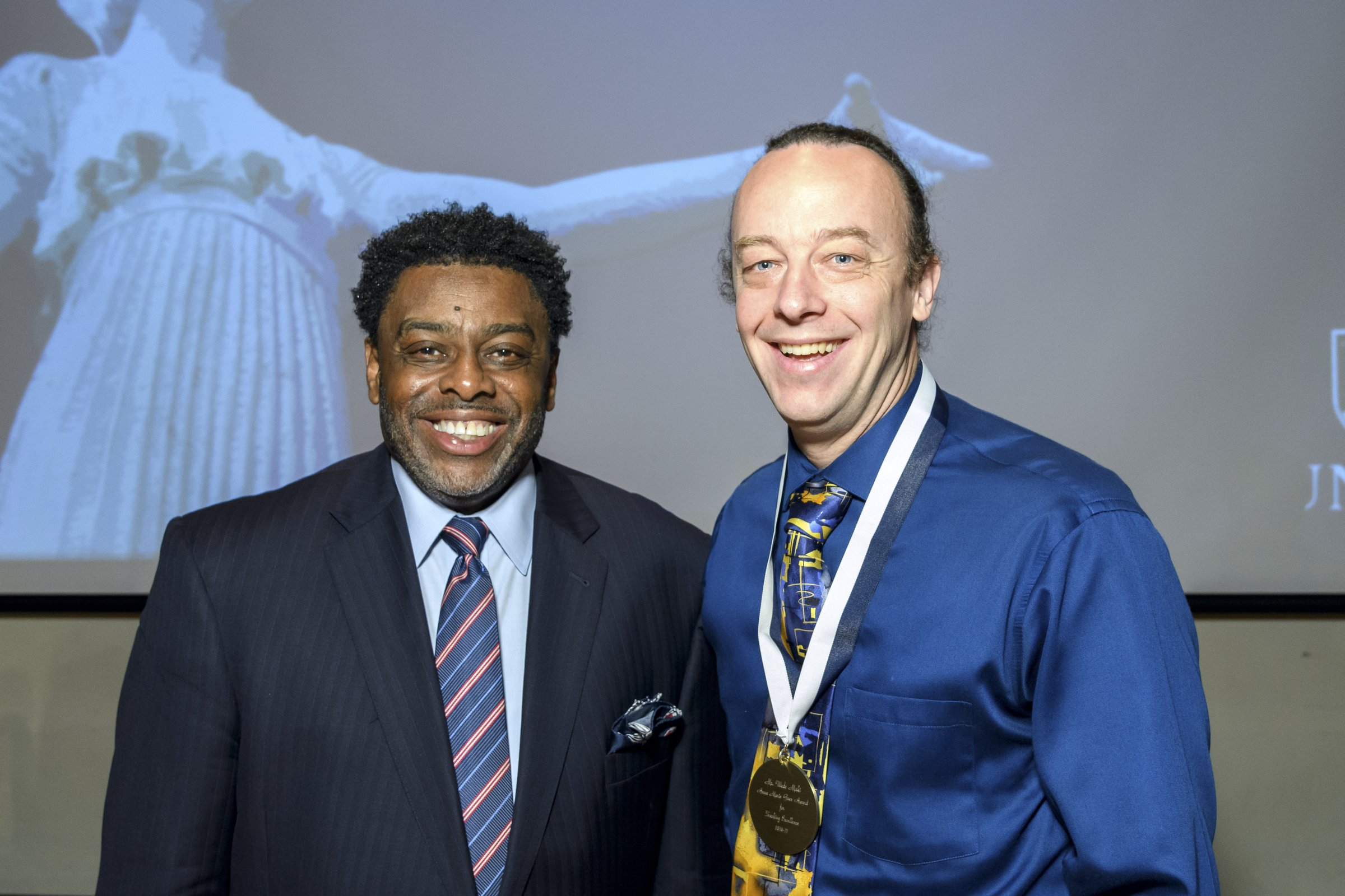 Photo of Chancellor Gilliam with award recipient Wade Maki