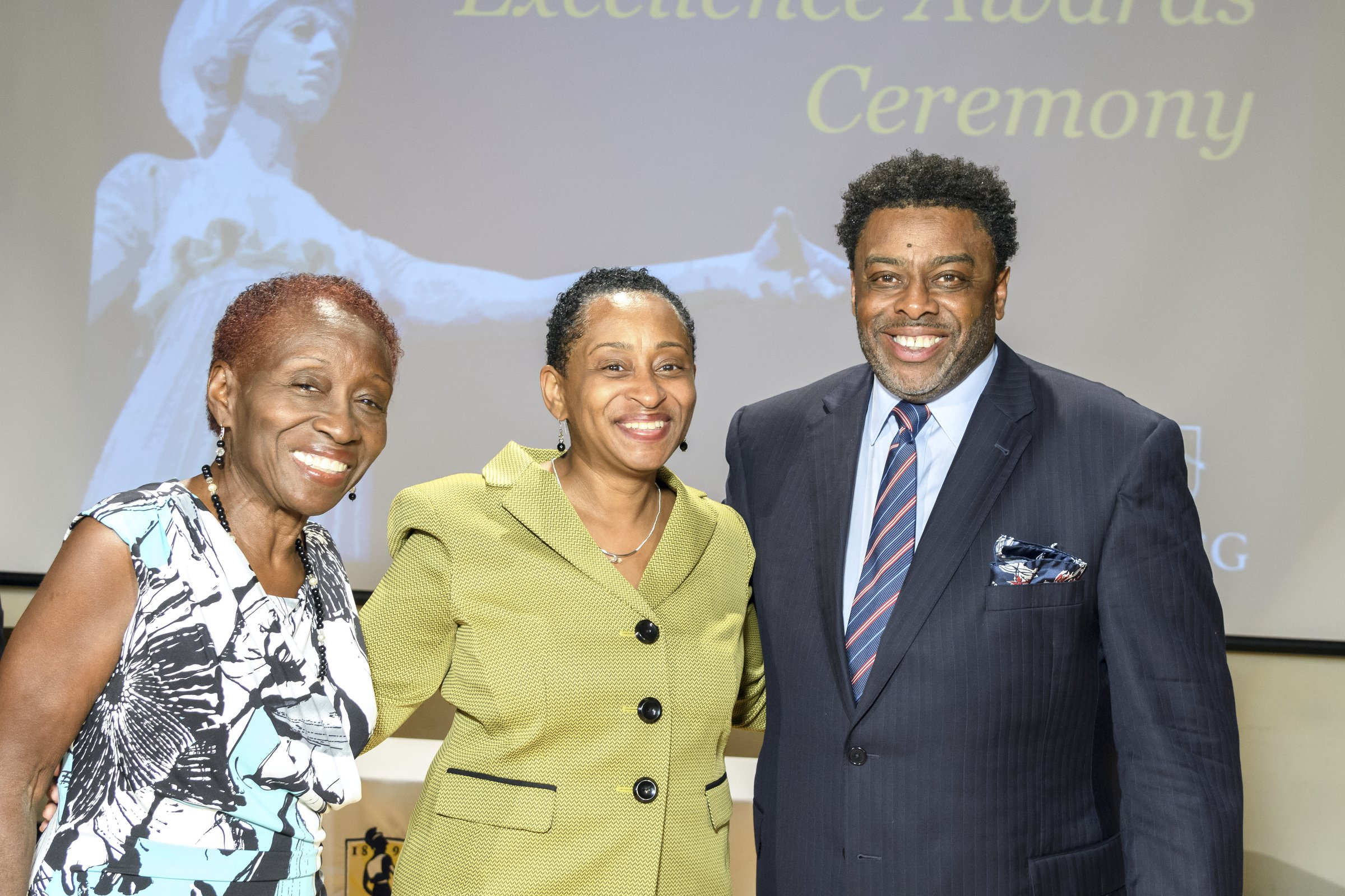 Chancellor Gillliam with two female recipients