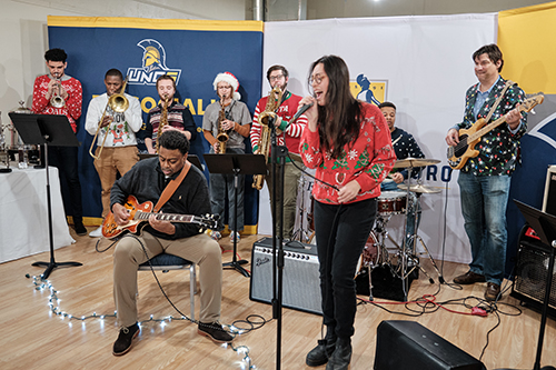 Chancellor Frank Gilliam and band at UNCG Pop Up shop