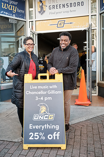 Chancellor Frank Gilliam and wife Jacquelean UNCG Pop Up shop