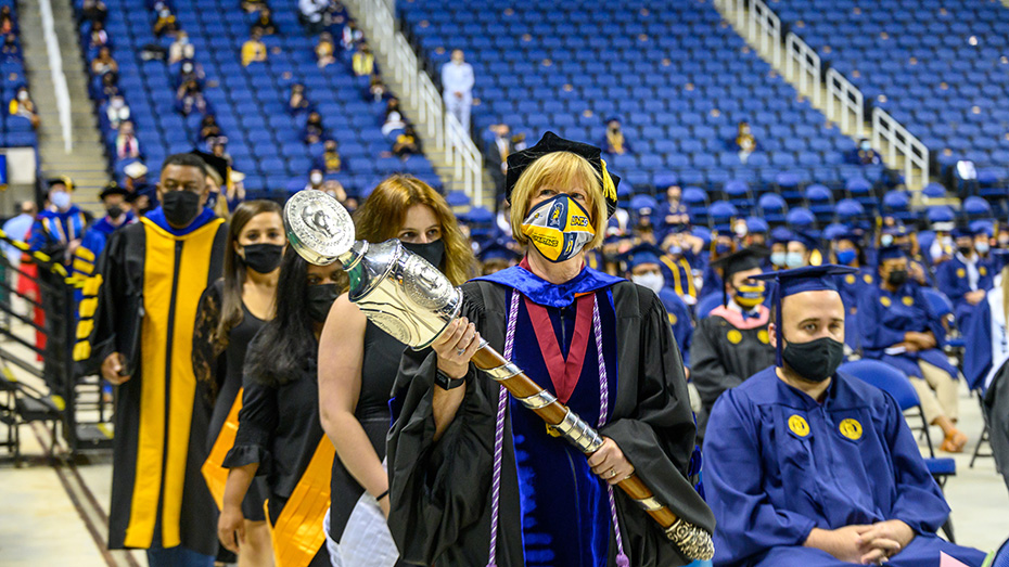 Procession into the collesium for a Class of 2020 Commencement ceremony