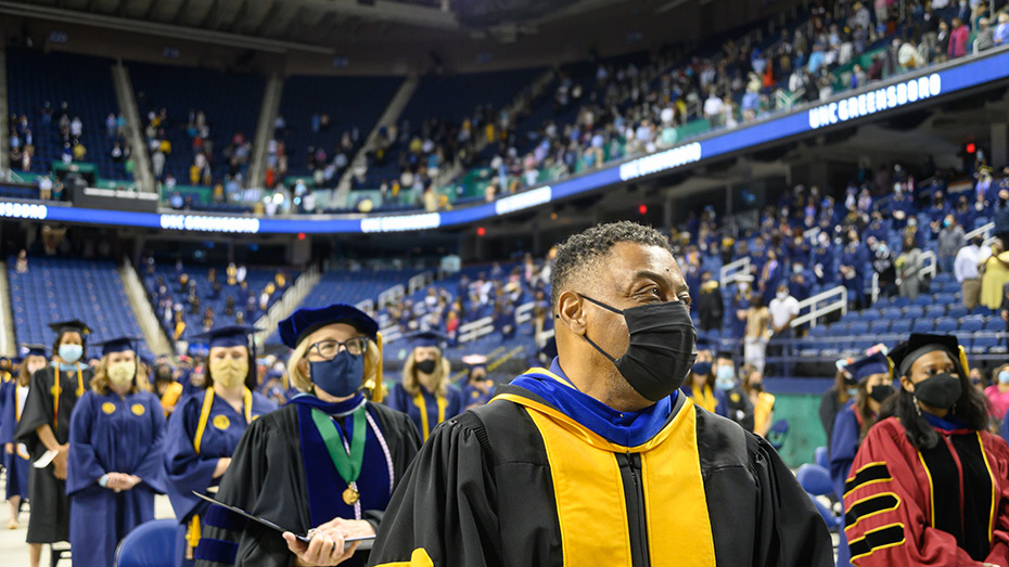 Chancellor Gilliam in the Commencement processional into the collesium for a Class of 2020 ceremony