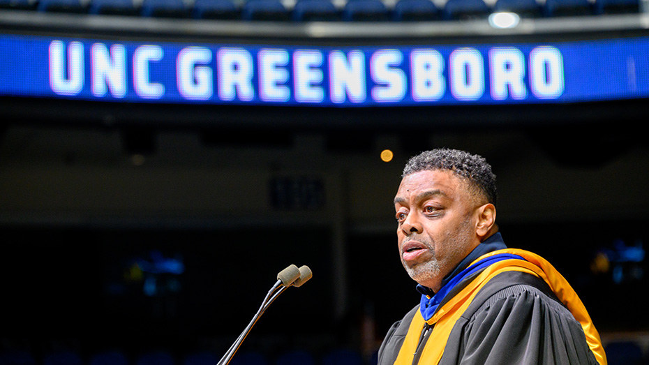Chancellor Gilliam speaks at a Commencement ceremony for the Class of 2021